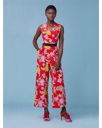 87a25322f36 Lyst - Diane von Furstenberg Terria Silk Jersey Wrap Jumpsuit in Red