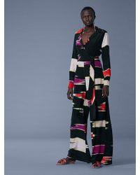 Diane von Furstenberg - Long-sleeve Collared Wrap Jumpsuit - Lyst