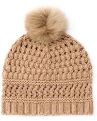 Diane von Furstenberg Fur Detail Cable Knit Wool Hat