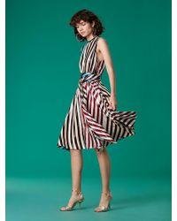 Diane von Furstenberg - Sleeveless Waist Tie Draped Midi Dress - Lyst