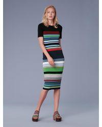 3f8dc3235d Diane Von Furstenberg Short-sleeve Zip Front Dress in Black - Lyst