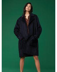 Diane von Furstenberg - Collared Striped Coat - Lyst