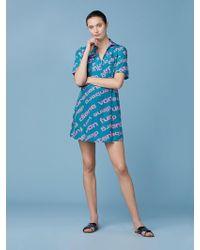 b44cbba926 Diane von Furstenberg - Short-sleeve Collared Wrap Dress - Lyst