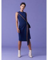 cea8b1be0f387 Diane von Furstenberg Long Sleeve Crew Neck Embroidered Dress in ...