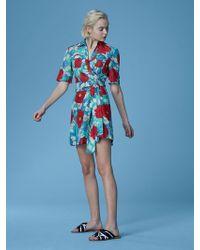 Diane von Furstenberg - Short-sleeve Collared Wrap Dress - Lyst