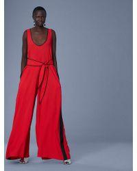 Diane von Furstenberg - Wide Leg Belted Jumpsuit - Lyst