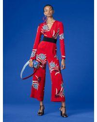 Diane von Furstenberg - Long-sleeve Cross Over Jumpsuit - Lyst