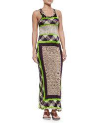 Jean Paul Gaultier Scarf-Print Fitted Tank Dress - Lyst