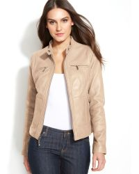 Michael Kors Michael Seamed Zipfront Leather Jacket - Lyst