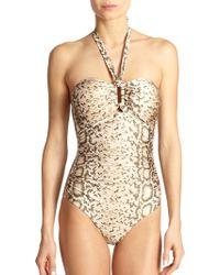 Zimmermann Snake-patterned Halter One-piece Swimsuit - Lyst