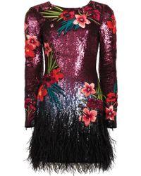 Matthew Williamson Damson Embroidered Sequin Feather Dress - Lyst