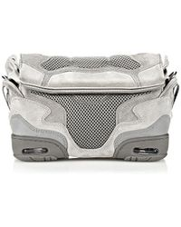 Alexander Wang Small Sneaker Sling In Light Concrete With Mesh And Rhodium - Lyst