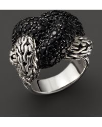 John Hardy Classic Chain Sterling Silver Lava Large Braided Ring with Black Sapphire - Lyst