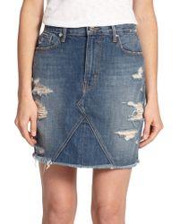 Genetic Denim | Gordon Distressed Denim Mini Skirt | Lyst