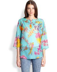 Etro Cotton & Silk Printed Tunic Top - Lyst