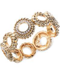 Jones New York - Gold-Tone Crystal Circle Stretch Bracelet - Lyst