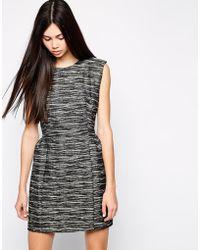 Wackerhaus Melange Stripe Sleeveless Shift Dress - Lyst