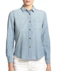 Current/Elliott The Slim Boyfriend Embroidered Chambray Shirt - Lyst