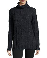 Halston Heritage Long-sleeve Chunky Turtleneck Sweater - Lyst