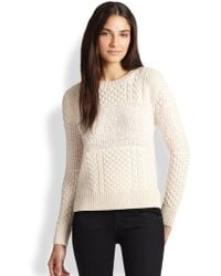 Cardigan | Ondine Fuzzy-Paneled Cable-Knit Sweater | Lyst