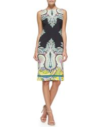 Etro Sleeveless Fern & Paisley-Print Sheath Dress - Lyst