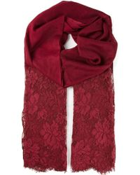 Valentino Red Lace Scarf - Lyst