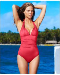DKNY Ruched Halter One Piece Swimsuit - Lyst