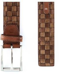 Black.co.uk - Antique Brown Italian Leather And Suede Woven Belt - Lyst