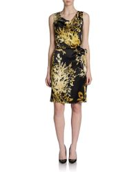 Josie Natori Silk Flowerprint Sidetie Sheath Dress - Lyst