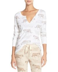 All Things Fabulous - 'tiger' Thermal Henley Sleep Shirt - Lyst