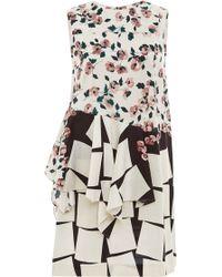 Suno Floral Cubes Asymmetrical Godet Shift Dress - Lyst