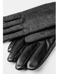 Mango   Herringbone Leather Gloves   Lyst
