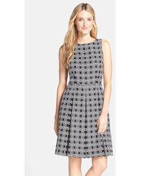 Tahari Petite Women'S Geo Jacquard Fit & Flare Dress - Lyst