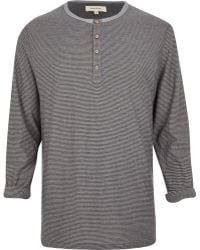 River Island Grey Stripe Long Sleeve Grandad T-Shirt - Lyst