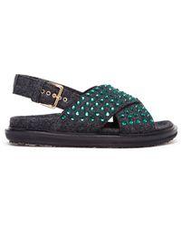 Marni Jewelled Felt Sandals - Lyst