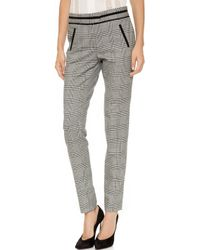 Veronica Beard Glen Plaid Cigarette Trousers  Blackivory - Lyst