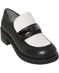 Jil Sander Navy 40Mm Metal Plaque On Leather Loafers - Lyst