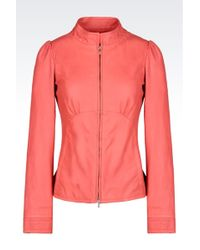 Armani Full Zip Leather Jacket - Lyst
