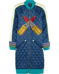 House Of Holland Embroidered Quilted Satin Coat - Lyst