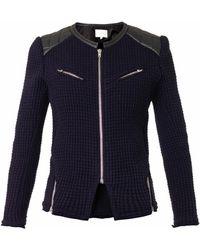 Iro Ceylona Leather Trimmed Waffleknit Jacket - Lyst