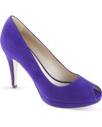 Karen Millen Suede Peeptoe Court Shoes Blue - Lyst