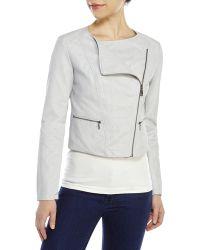 Jessica Simpson Faux Leather Asymmetrical Jacket - Lyst