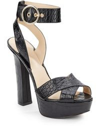 Nine West Sedona Crocodile Embossed Leather Platform Sandals - Lyst