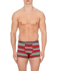 Calvin Klein Striped Stretch-cotton Trunks - Lyst
