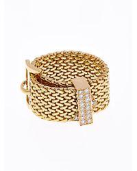 Aurelie Bidermann Diamond & Yellow-Gold Belt Ring - Lyst