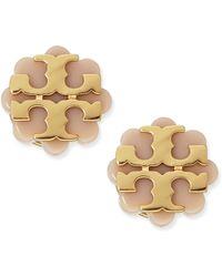 Tory Burch Resin Flower Logo Stud Earrings Beigegold - Lyst