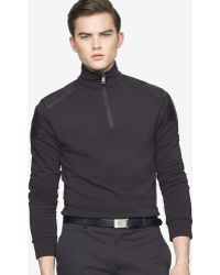 Ralph Lauren Black Label Halfzip Moto Sweater - Lyst