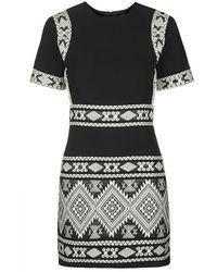 Topshop Aztec Jacquard Shift Dress - Lyst