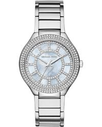 Michael Kors Kerry Glitz Chambray Mother-Of-Pearl & Stainless Steel Bracelet Watch silver - Lyst
