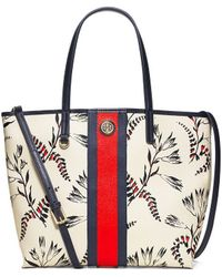 Tory Burch Kerrington Stripe Mini Square Tote - Lyst